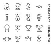 set of 16 award thin line icons.... | Shutterstock .eps vector #1013348608