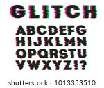 glitch color shift font. vector ... | Shutterstock .eps vector #1013353510