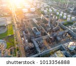 aerial view of twilight of oil... | Shutterstock . vector #1013356888