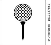 golf ball on tee icon vector... | Shutterstock .eps vector #1013357563