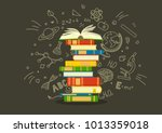 stack of colorful books with... | Shutterstock .eps vector #1013359018