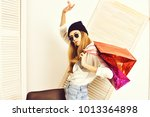 pretty woman or sexy cute girl... | Shutterstock . vector #1013364898