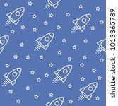 space. seamless pattern. blue.... | Shutterstock .eps vector #1013365789