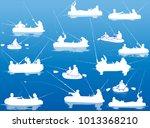 illustration with fishermen... | Shutterstock .eps vector #1013368210