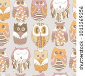 cute seamless pattern with owls. | Shutterstock .eps vector #1013369356