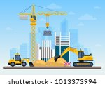 building work process with... | Shutterstock .eps vector #1013373994