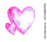 two watercolor pink hearts...   Shutterstock . vector #1013380450
