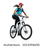 cyclist in blue t shirt riding... | Shutterstock . vector #1013396650