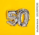 silver foil number 50... | Shutterstock . vector #1013399230