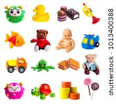 toys isolated on white...   Shutterstock . vector #1013400388
