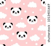 Cute Panda Seamless Pattern ...