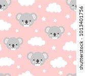 Cute Koala Seamless Pattern ...