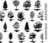 monochrome black and white tree ... | Shutterstock . vector #1013414560