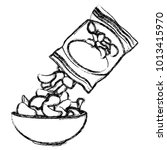 potato chips bag and bowl | Shutterstock .eps vector #1013415970