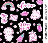 vector fashion fun patches... | Shutterstock .eps vector #1013421724