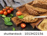 pate from the liver on rye... | Shutterstock . vector #1013422156