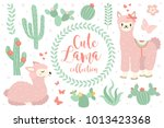 Stock vector cute lama set objects collection design elements with llama cactus lovely flowers isolated on 1013423368