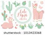 cute lama set objects.... | Shutterstock .eps vector #1013423368