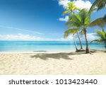 caribbean sea and coconut palms | Shutterstock . vector #1013423440