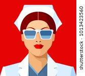woman as doctor or nurse.... | Shutterstock .eps vector #1013423560