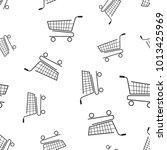 shopping cart seamless pattern... | Shutterstock .eps vector #1013425969