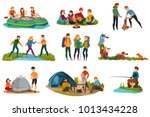camping people set with tent... | Shutterstock .eps vector #1013434228