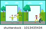 outdoor activity  color banners ... | Shutterstock .eps vector #1013435434