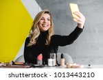 beautiful woman making selfie | Shutterstock . vector #1013443210