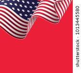 waving american flag on red... | Shutterstock .eps vector #1013445580