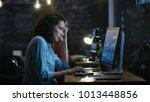 stressed  overworked female... | Shutterstock . vector #1013448856