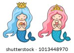 cute little mermaids with long... | Shutterstock .eps vector #1013448970