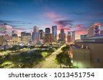 Small photo of Houston, Texas, USA downtown city skyline.
