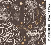 vector of seamless pattern with ... | Shutterstock .eps vector #1013453428