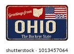 greetings from ohio vintage... | Shutterstock .eps vector #1013457064