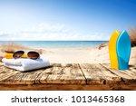 summer desk space    Shutterstock . vector #1013465368