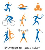 Set Of Sport  Fitness Icons....