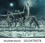 flock of wolves at night  the... | Shutterstock . vector #1013470078