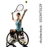 one caucasian young handicapped ... | Shutterstock . vector #1013473129