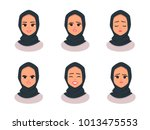 set smiling girl in hijab... | Shutterstock .eps vector #1013475553
