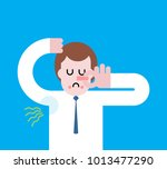 smell of sweat. smelly armpit.... | Shutterstock .eps vector #1013477290