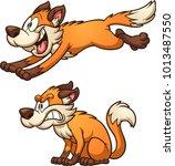 running and sitting cartoon fox.... | Shutterstock .eps vector #1013487550
