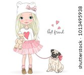 Stock vector hand drawn beautiful cute little girl with pretty dog pug vector illustration 1013495938
