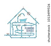 elements of a plumbing. pipes ... | Shutterstock . vector #1013499526
