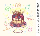 vector birthday cake with many... | Shutterstock .eps vector #1013502280