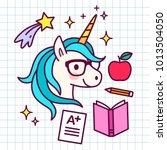 cute cartoon magic unicorn with ...   Shutterstock .eps vector #1013504050
