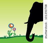 elephant head with flower art... | Shutterstock .eps vector #101350708
