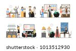 halloween party at office set.... | Shutterstock . vector #1013512930