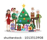 family with christmas tree.... | Shutterstock . vector #1013513908