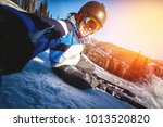 selfie guy sportsman goes on... | Shutterstock . vector #1013520820