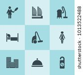 set of 9 hotel filled icons... | Shutterstock .eps vector #1013522488